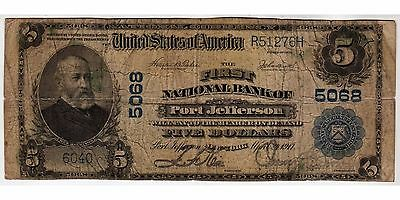 $5 1902 Plain Back The First National Bank of Port Jefferson, NY CH# 5068