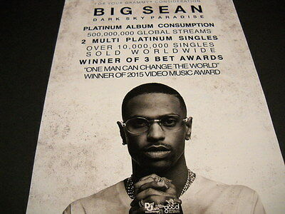 BIG SEAN For Your Grammy Consideration DARK SKY 2015 Promo Poster Ad