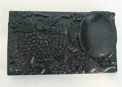 UNUSUAL ANTIQUE CHINESE HAND CARVED BLACK INK STONE with STYLIZED DRAGON