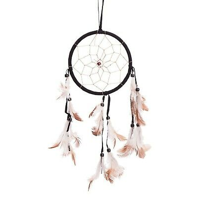 """15"""" Traditional Black Dream Catcher with Feathers Wall or Car Hanging Ornamen..."""