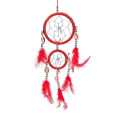 """12"""" Traditional Red Dream Catcher with Feathers Wall or Car Hanging Ornament ..."""