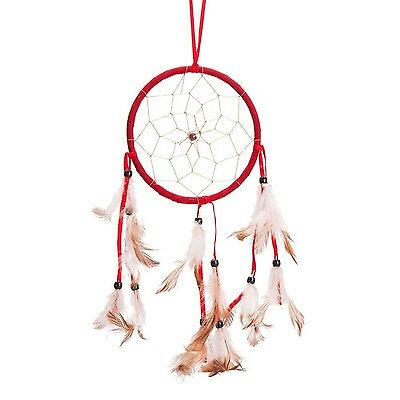 """15"""" Traditional Red Dream Catcher with Feathers Wall or Car Hanging Ornament ..."""