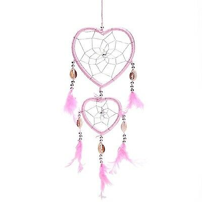 """17"""" Traditional Pink Dream Catcher with Feathers Wall or Car Hanging Ornament..."""