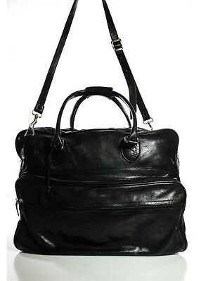BALENCIAGA Black Leather Silver Tone Double Handle Large Weekender Travel Bag