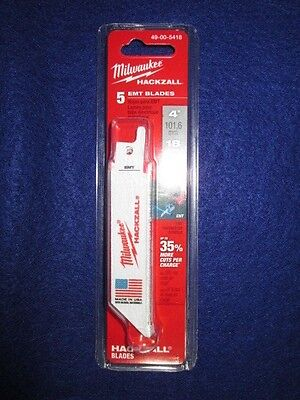 "Milwaukee 49-00-5418 4"" Hackzall Blades Pack Of 5 Emt New"