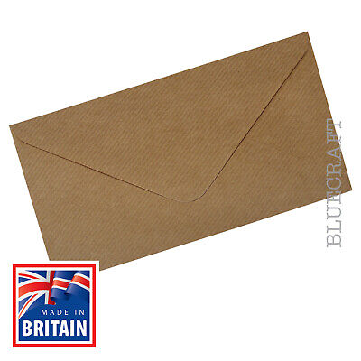 50 x Brown Ribbed Kraft 100gsm DL Envelopes 220 x 110 mm - 8.66 x 4.33 inches