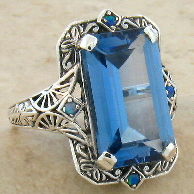 6 Ct. Sim Aquamarine Opal Antique Victorian Design .925 Silver Ring Size 8,#309