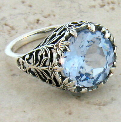 4.5 CT SIM SKY BLUE TOPAZ ANTIQUE STYLE .925 STERLING SILVER RING Sz 10.25, #372