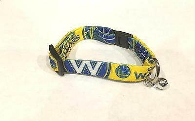 NEW GOLDEN STATE WARRIORS ADJUSTABLE SAFETY CAT COLLAR w/ BELL LICENSED