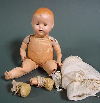 Antique Leather + Bisque Baby Doll w/ Formed Teeth + Clothing