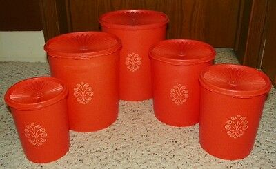 Vintage Tupperware Stacking Canister Set - Classic Orange - 10 Piece Set