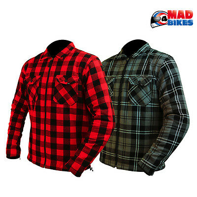 ARMR Moto Motorcycle Motorbike Scooter New CE Armoured Checked Jacket / Shirt