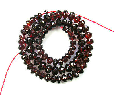 "MOZAMBIQUE RED GARNET faceted rondelle beads AAA 5-8mm 15.5""strand"