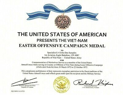 Vietnam 1972 Easter Offensive Campaign Medal Certificate