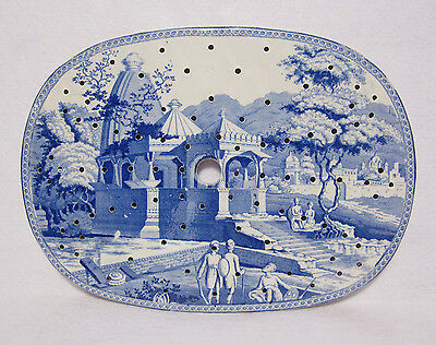 Blue & White Transferware Meat Drainer Early 19thCentury Staffordshire Pearlware