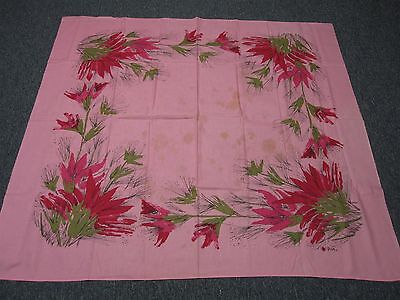 VINTAGE PINK SIGNED VERA COTTON TABLECLOTH with EXOTIC HOT PINK FLOWERS 50x54
