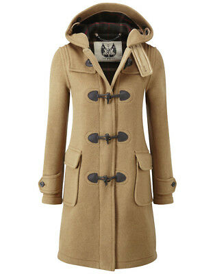 British Duffle Women's Made in England Long Duffle Coat - Camel