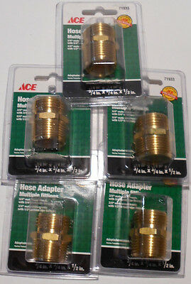 "5 Lot  3/4"" M GHT x 3/4"" NPT - 1/2"" NPT F Brass Garden Hose Lawn Adapter Fitting"