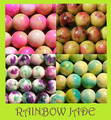Full String of Rainbow Jade 8mm Round - choose your colour (BD086) FREE POSTAGE