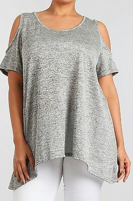 2a5ae669c9ff3a NWT Boutique Designer Heather Gray Open Shoulder Top Relaxed Fit Plus 1x 2x  3x