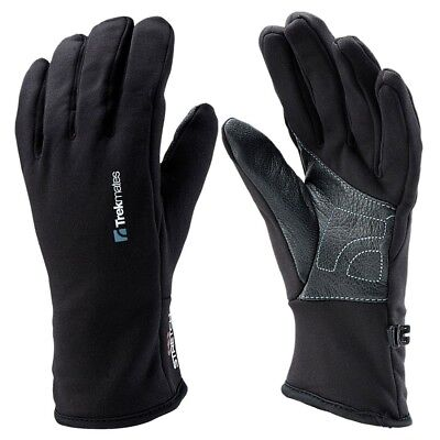 Trekmates Ullscarf Glove M - light stretch fleece finger gloves with leather pal