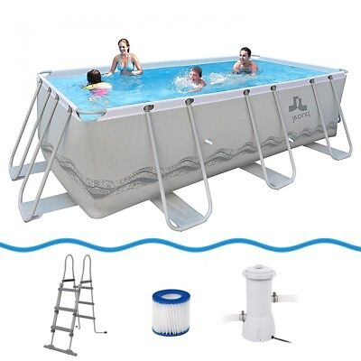 Jilong Passaat Grey 400 Set - steel frame pool 400x200x99cm, rectangular pool wi