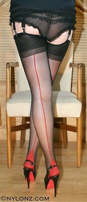 3 pairs BLACK RED Seam Luxury Contrast Seamed Stockings S,M,L,XL