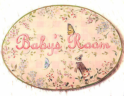 """Vtg Wood """"BABY'S ROOM"""" Hand Painted Pink SIGN Signed, BUNNY Butterfly Flowers"""