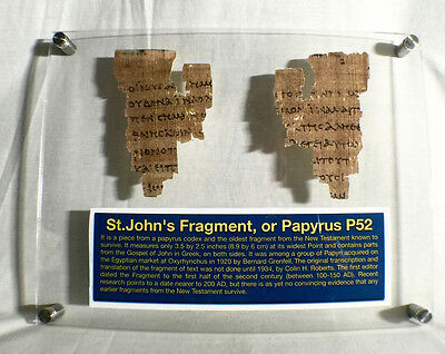 St John Papyrus 52 Fragment The Oldest New Testament Piece Papyrus Replica Relic