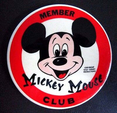 Vintage Disney Mickey Mouse Club Member Pin Button - Free Usa Shipping!