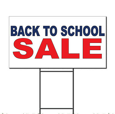 Back To School Sale Blue Red Corrugated Plastic Yard Sign /Free Stakes