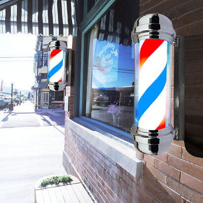 "New 30"" Barber Shop Pole Red White Bule Rotating LED Light Sign Hair Salon"