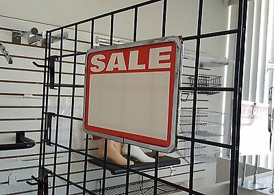 "1 Chrome Plated 7"" X 11"" Metal Sign Holder For Gridwall And 4 Pre-Printed Signs"