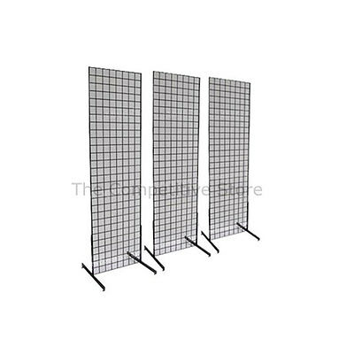 2' x 6' Gridwall Panel Tower with T-Base Floorstanding Display Kit, 3-Pack Black