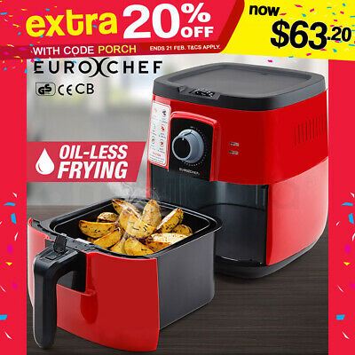 3L Air Fryer Low Fat Oil Free Healthy Deep Cooker Kitchen Rapid NEW EuroChef