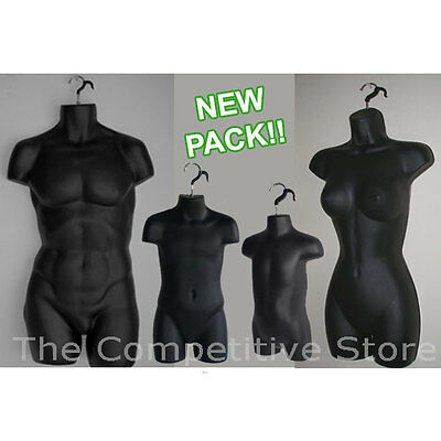 Black  Female Dress Male Child Toddler - 4 Mannequin Display Body Forms