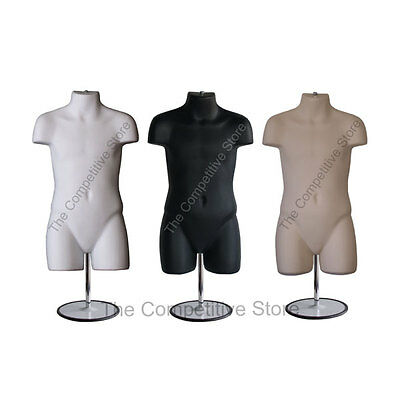 Child Black White Flesh Mannequin Body Forms W/ Base - For Clothing Size 5T- 7