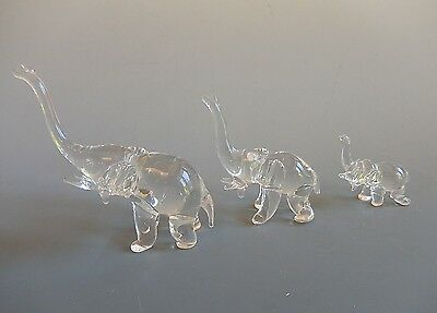 Crystal Glass Hand blown Set of 3 Elephants