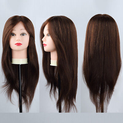 100% Brown Human Hair Head Mannequin Cosmetology Pro Hairdressing Salons+Holder