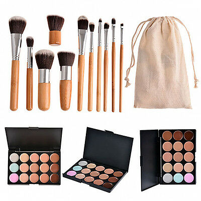 Lively 15 Colors Contour Face Cream Makeup Concealer Palette And Brushes Set
