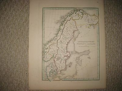 Gorgeous Antique 1835 Denmark Sweden Norway Lapland Bradford Handcolored Map Nr