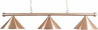 Pool Table Lighting Brushed Steel Bar With 3 Brushed Steel Shades##