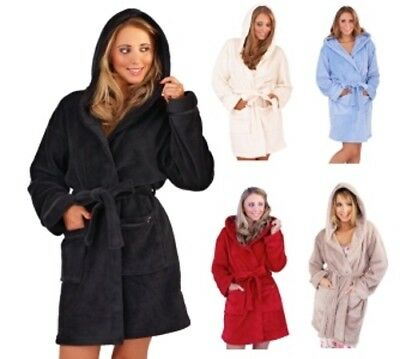 Womens Short Robe Luxury Corel Fleece Hooded Bathrobe Housecoat Wrap Ladies Size
