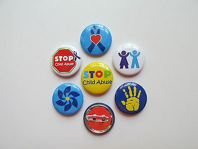 48 CHILD ABUSE Awareness PINS mini buttons FREE S/H event favors supplies NICE