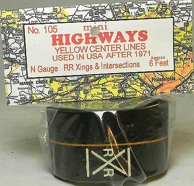 NIB N Mini Highways 105 Yellow RR Crossings & Intersections 6 Ft