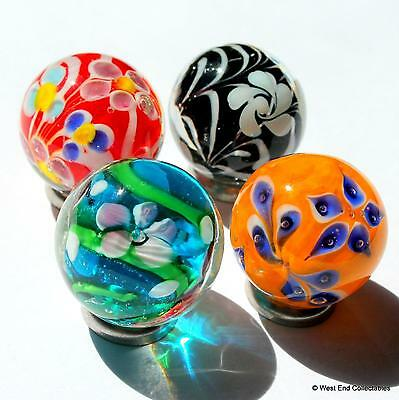 4 x 22mm Vivid Handmade Glass Art Toy Marbles - Marble Collectors Selection