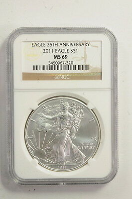 2011 $1 25Th Anniversary American Silver Eagle 1 Troy Oz Coin NGC MS 69