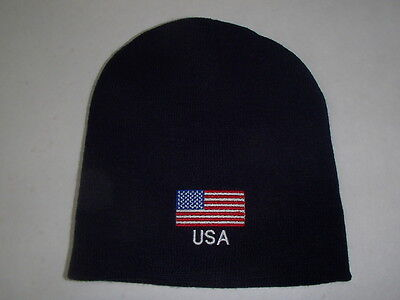 American USA United States Flag Embroidered Navy Knit Beanie Hat