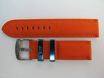 22Mm Scarlet Orange Canvas Strap With Leather Inner & Steel Buckle By Glycine #s