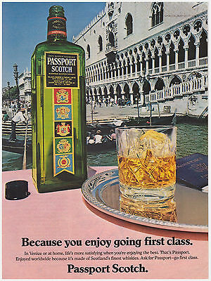 Original 1983 Passport Scotch Blended Whiskey- Scotland Vintage Print Ad